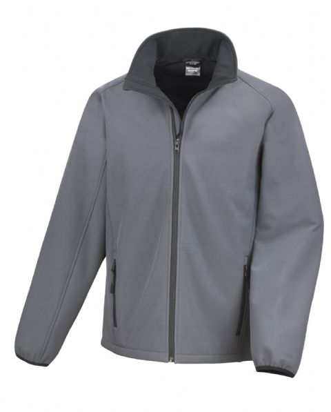 GREY WITH BLACK RESULT SOFT-SHELL JACKET